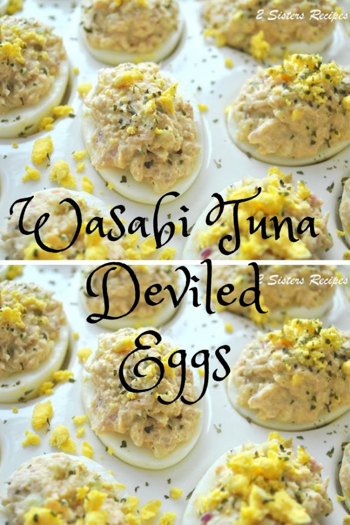 Wasabi Tuna Deviled Eggs by 2sistersrecipes.com
