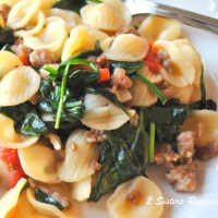 Orecchietti with Sausages and Spinach