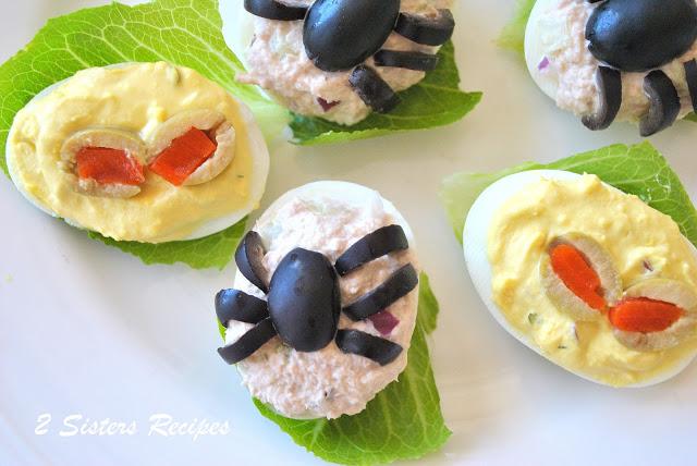 Spooky Deviled Eggs - 2 recipes by 2sistersrecipes.com