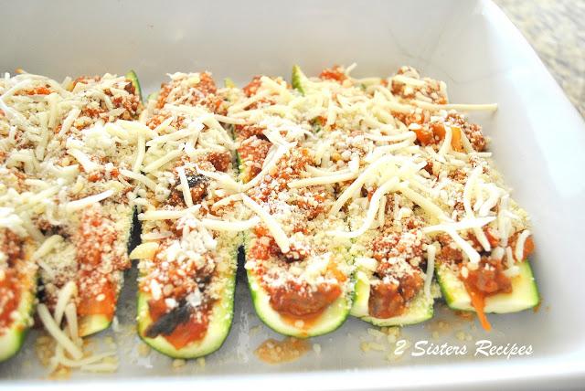 Zucchini Stuffed with Sausage Ragu and Cheese