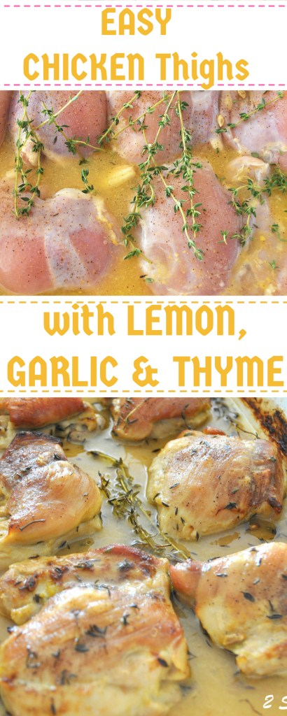 Chicken Thighs with LEMON, GARLIC & THYME! By 2sistersrecipes.com