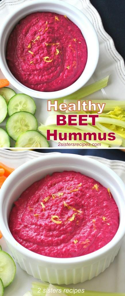 Heatlhy Beet Hummus by 2sistersrecipes.com