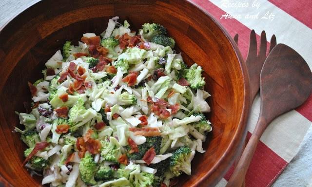 Crunchy Broccoli Raisins and Walnut Salad by 2sistersrecipes.com