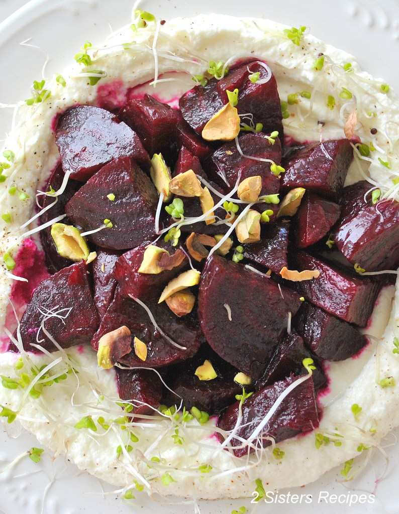 Beet Salad with Pomegranate Vinaigrette over Creamy Ricotta by 2sistersrecipes.com