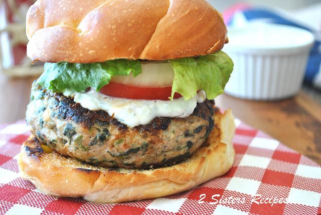 Turkey Burgers with Fresh Tzatziki Sauce by 2sistersrecipes.com