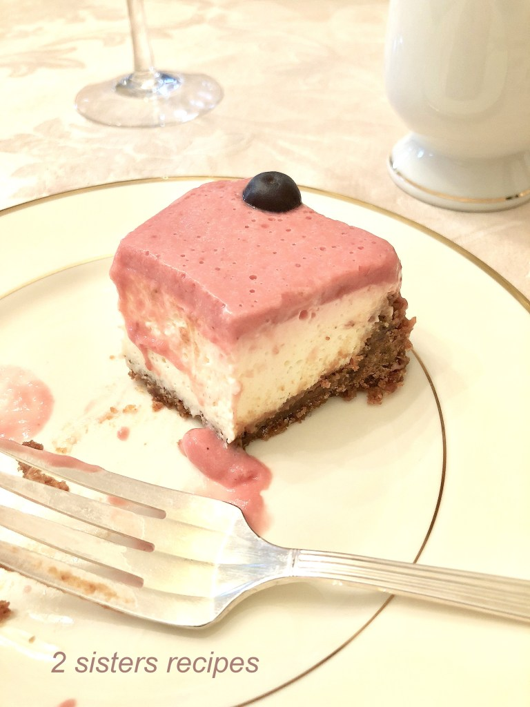 Lemon Raspberry Panna Cotta Cheesecake by 2sistersrecipes.com