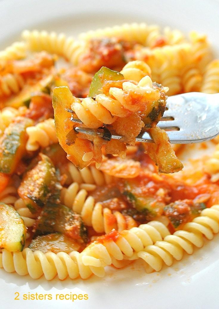 Zucchini Tomato Sauce over Fusilli Pasta