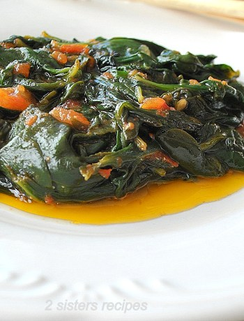 Sauteed Spinach with Tomatoes by 2sistersrecipes.com