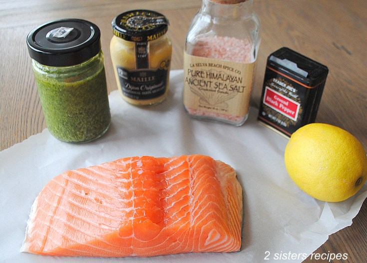 Baked Salmon with Dijon Basil Pesto