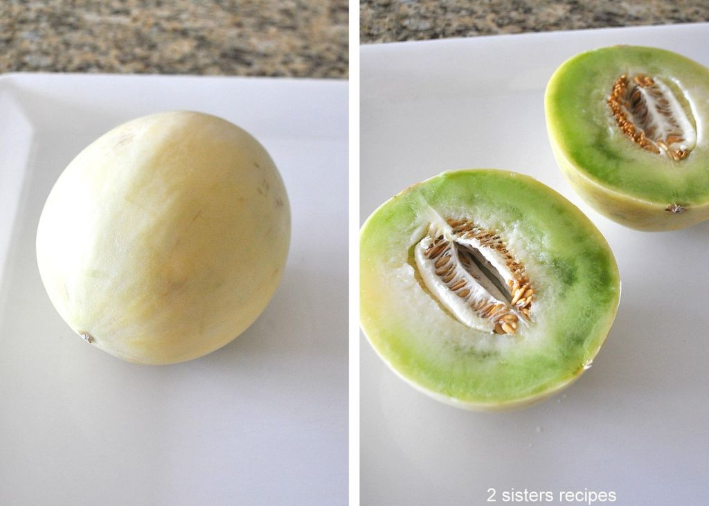 honeydew melon sliced in half by 2sistersecipes.com