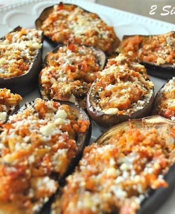 stuffed eggplant in a platter