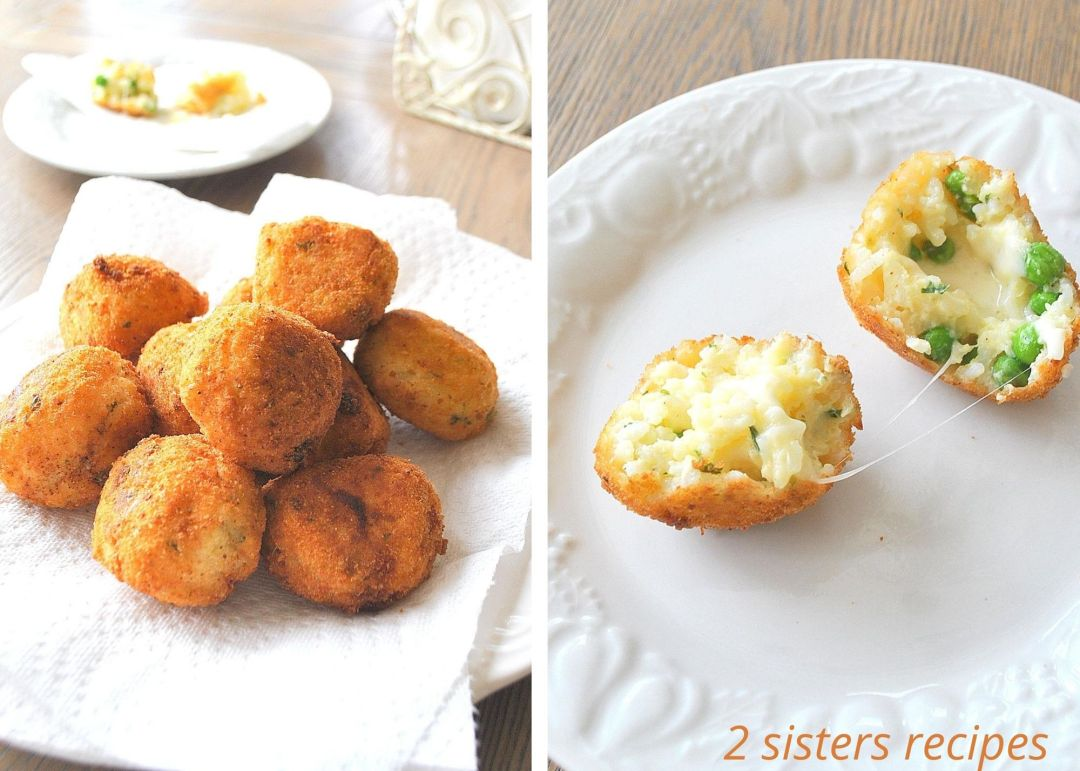 Cheesy Rice Balls with Peas by 2sistersrecipes.com