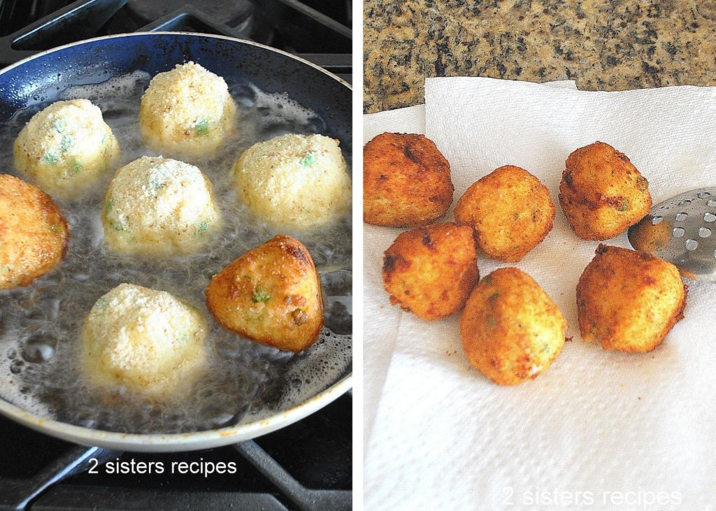 Frying rice balls in hot oil in a skillet by 2sistersrecipes.com