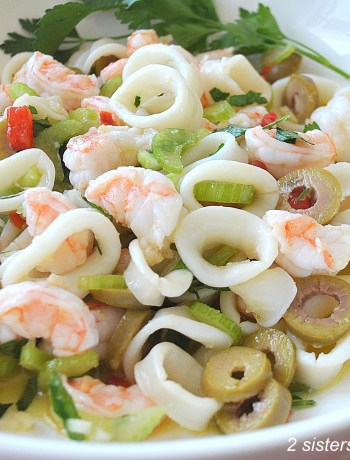 Shrimp and Calamari Salad by 2sistersrecipes.com