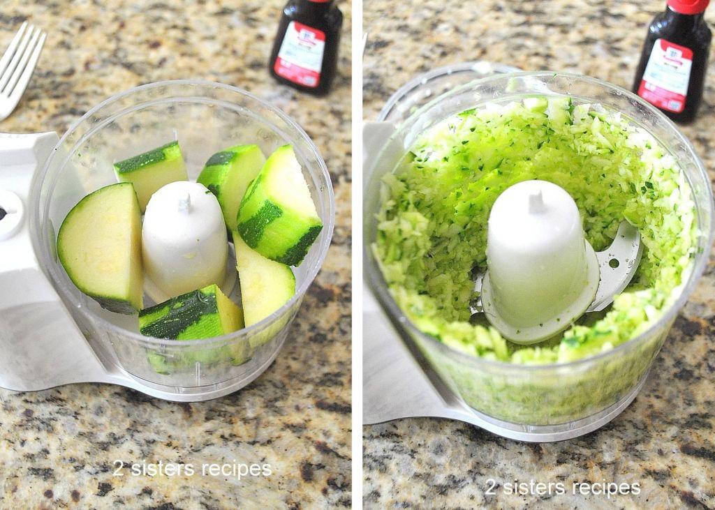 Zucchini in a mini chopper. 2sistersrecipes.com