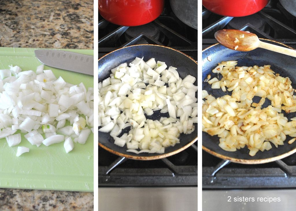 Cooking onions in a skillet. by 2sistersrecipes.com