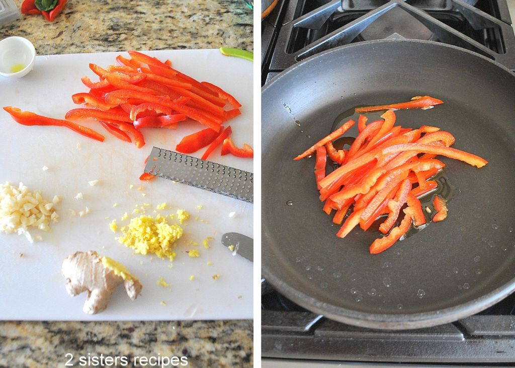 Red bell peppers in a skillet.  by 2sistersrecipes.com