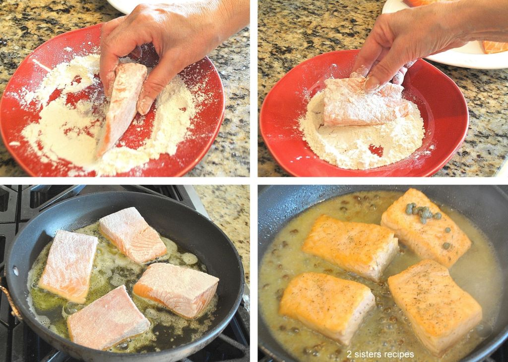 four photos of steps to making salmon piccata by 2sistersrecipes.com