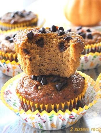 Paleo Pumpkin Chocolate Chip Muffins by 2sistersrecipes.com