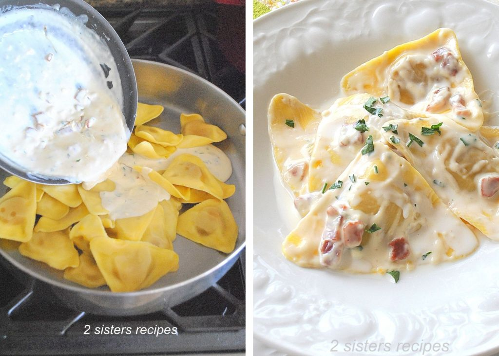 Gorgonzola Sauce is poured over the butternut squash ravioli by 2sistersrecipes.com