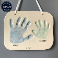 Clay Imprint Brothers' Hands mid blue & mid green