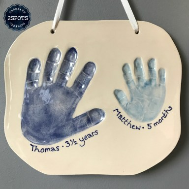 Clay Imprint Brother Handprints dark blue and mid blue