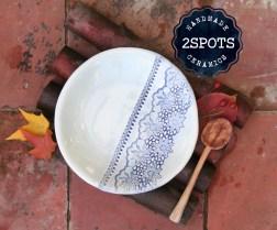 Blue textured pasta bowl