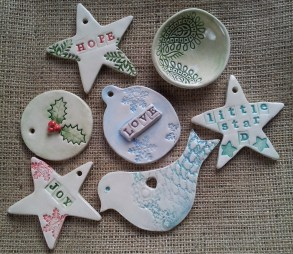 Christmas gifts and decorations made at pottery class