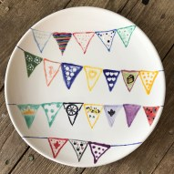 bunting plate for the bride to be