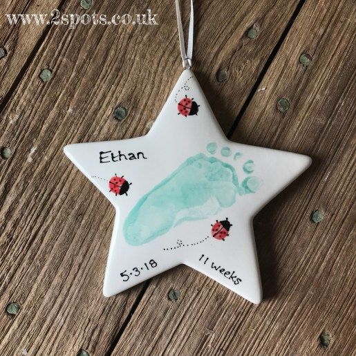 Footprint Star with Toeprint Ladybirds