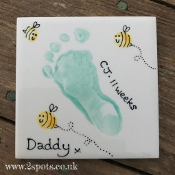 Minty Green Footprint Coaster with Toeprint Bees