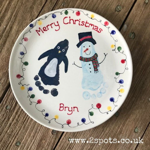Penguin and Snowmand Footprint Christmas Plate