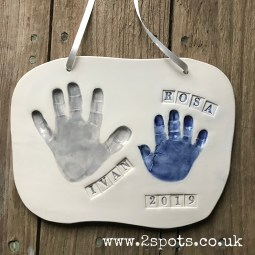 Sibling Clay Handprints with Stamped Text