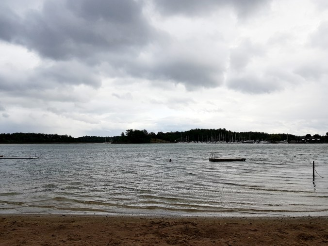 Helen swimming in Norrkrog