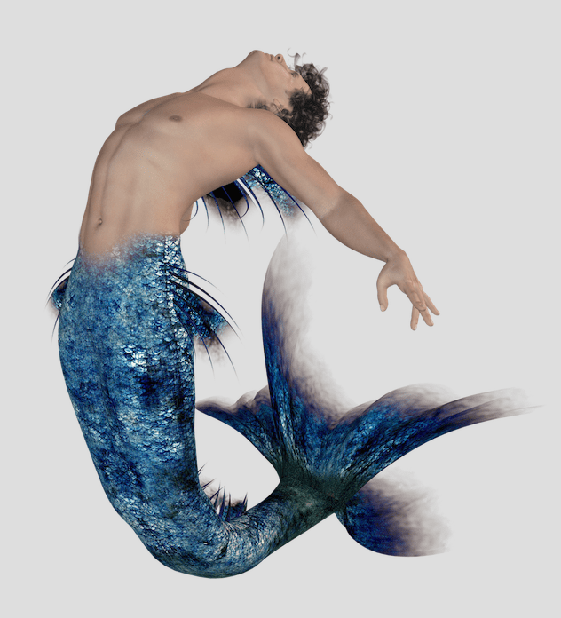 a merman with a blue tail