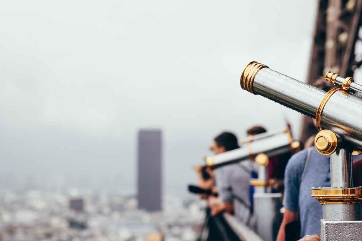 adult architecture binoculars building