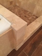 Custom bullnosing of Travertine