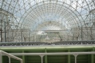 This is looking down a huge slanted structure that is currently being set up for soil experiments. Best guess, 75' long