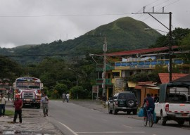 A view of one end of El Valle's main street. On the left is one of the buses that run all over Panama.