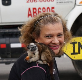 Our friend and hostess, Delmira, with the monkey in El Valle