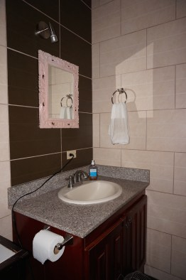 Our bathroom is not extravagant...