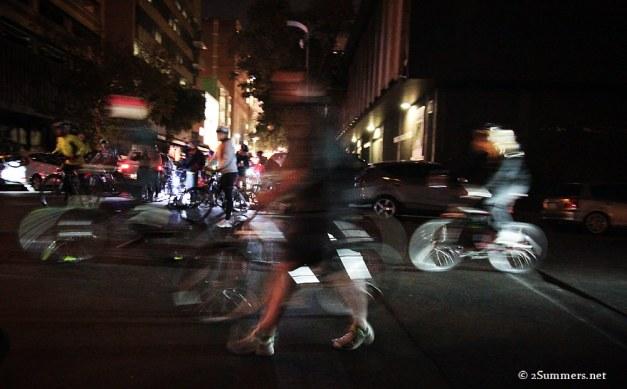 Blurry bikers