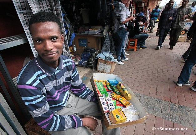 Sidewalk salesman