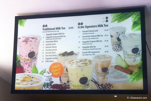 HappyMe menu
