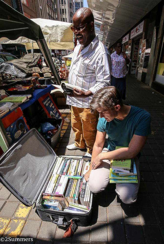 Griffin selling books at an informal market in downtown Joburg