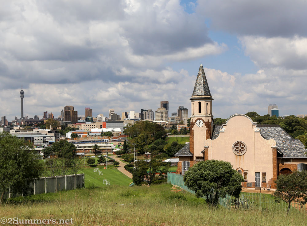Cottesloe Dutch Reformed Church and the Joburg skyline