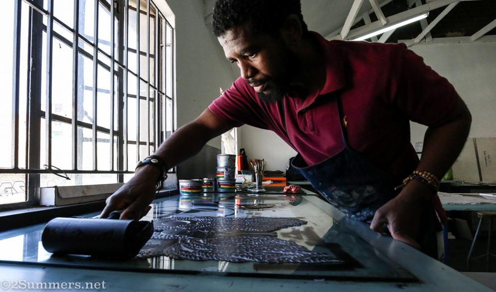 Joburg art linocutting