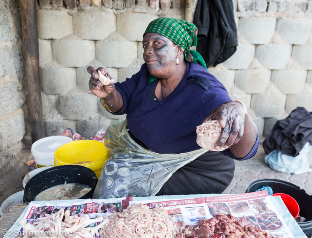 Lady selling offal in Alexandra