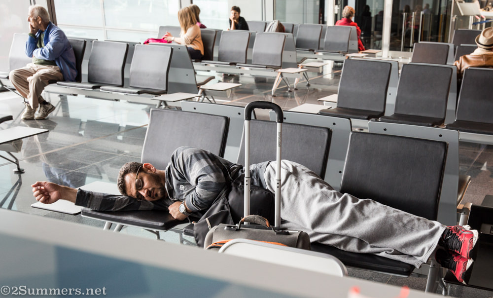 Man sleeping Frankfurt Airport