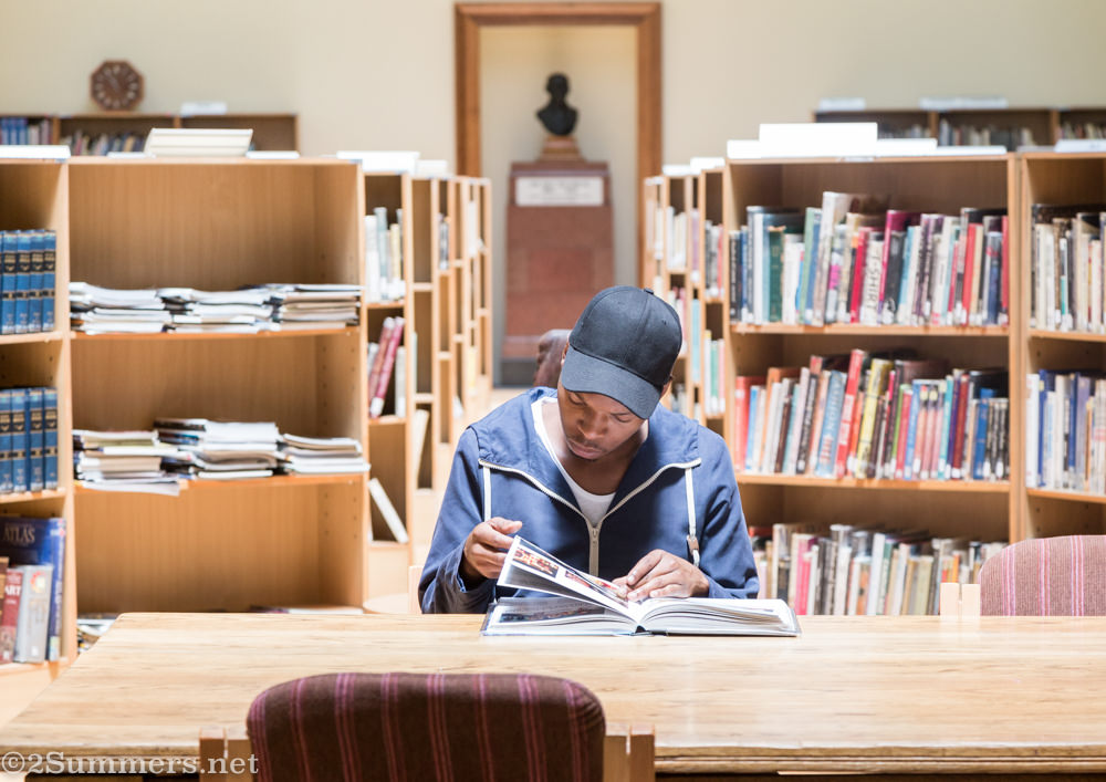 Studious youth at the Johannesburg City Library